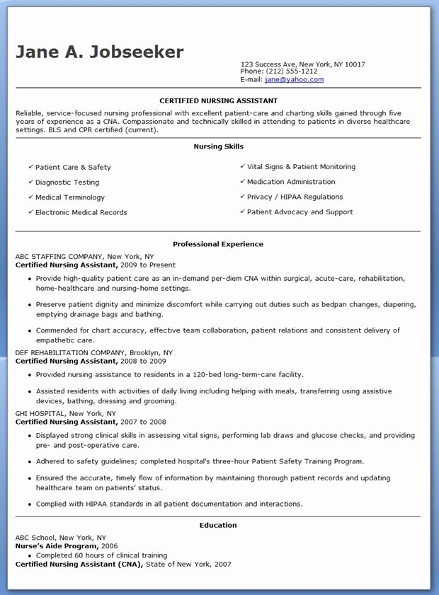 Free Cna Resume Templates Awesome Free Sample Certified Nursing assistant Resume