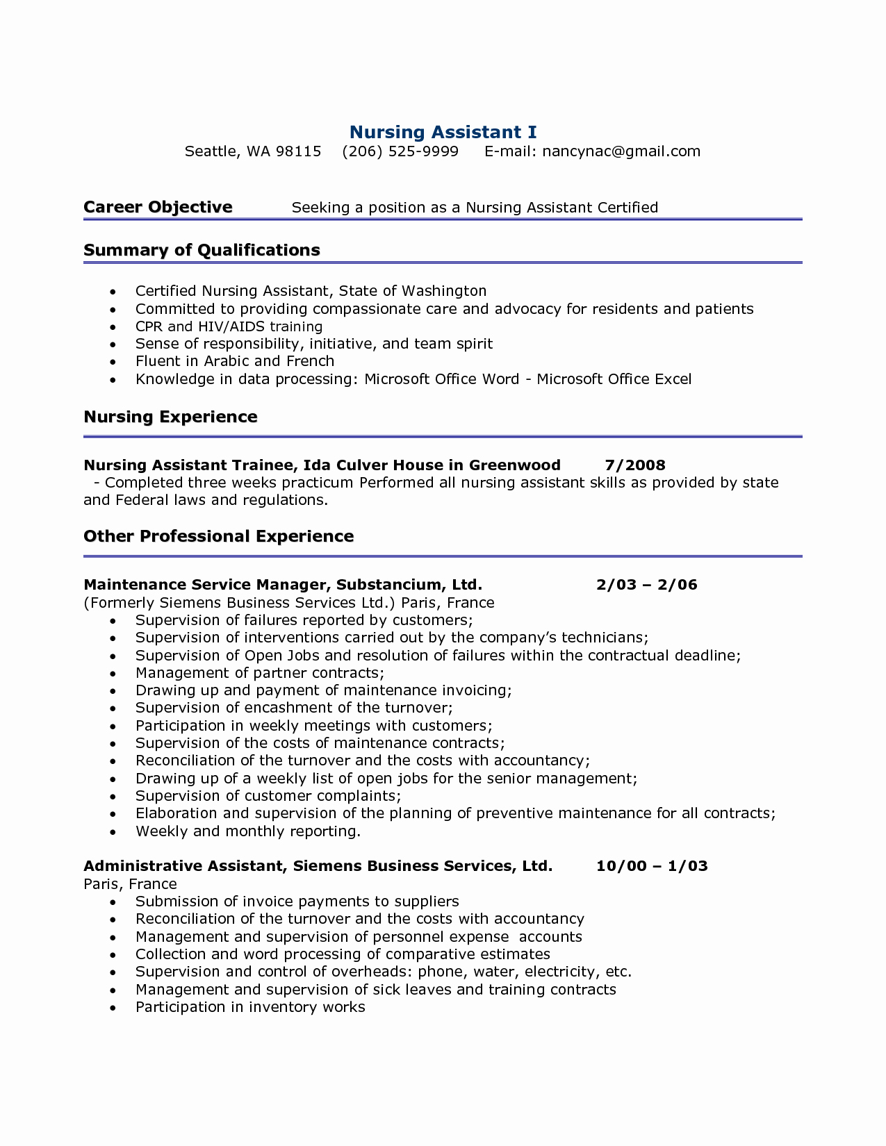 Free Cna Resume Templates Best Of 10 Cna Resume Examples 2016 Samplebusinessresume