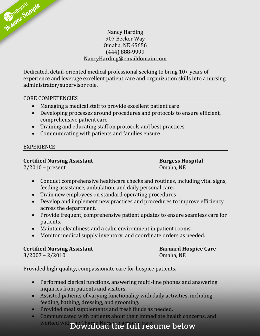 Free Cna Resume Templates Best Of How to Write A Perfect Cna Resume Examples Included