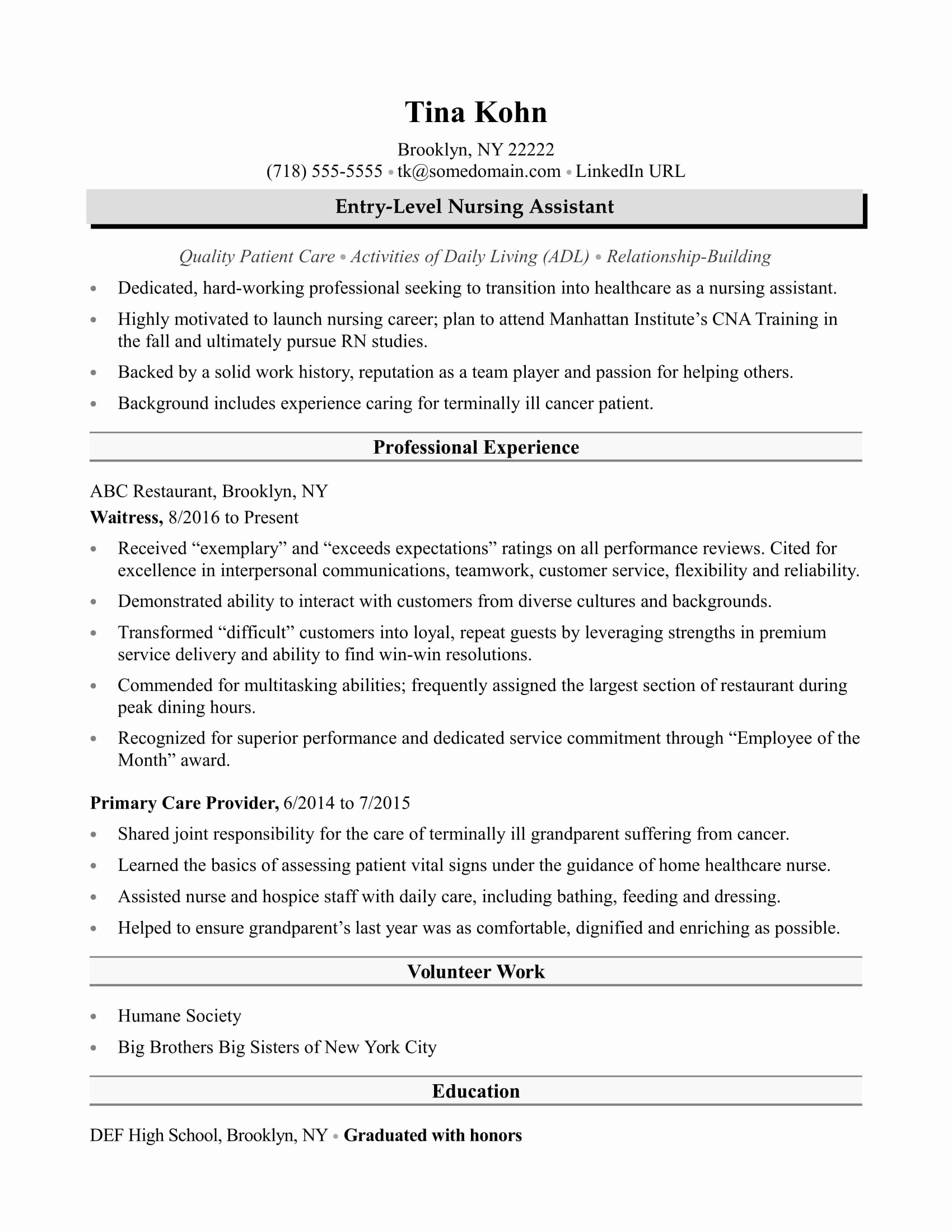 Free Cna Resume Templates Best Of Nursing assistant Resume Sample