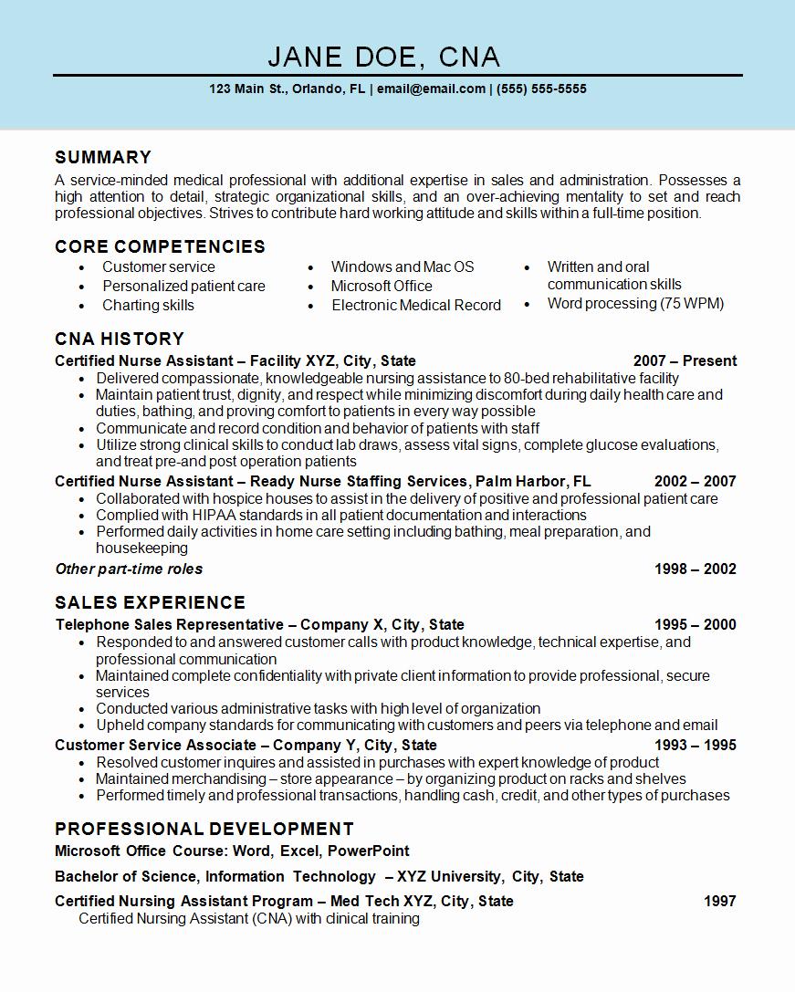 Free Cna Resume Templates Elegant Nurse assistant Cna