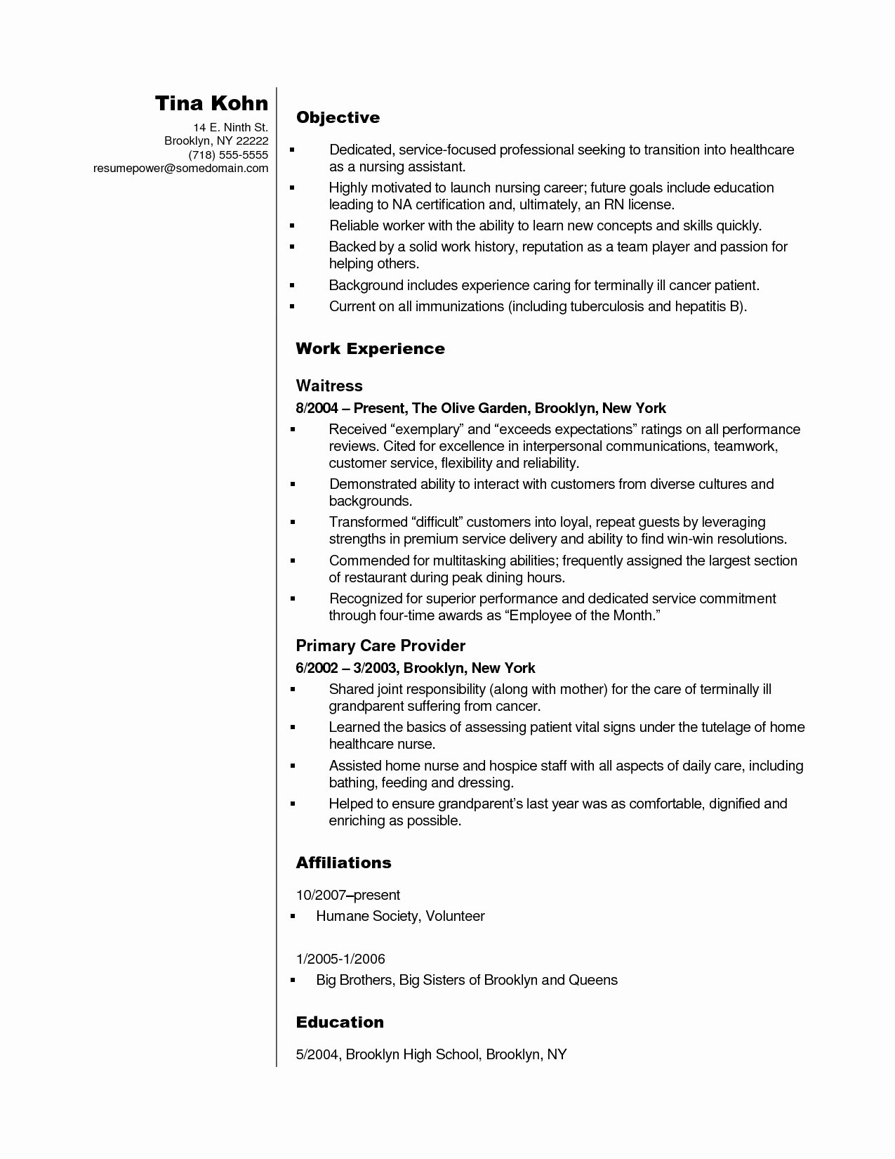 Free Cna Resume Templates Fresh 8 Templates Certified Nursing assistant Resume