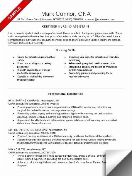 Free Cna Resume Templates Inspirational 10 Cna Resume Examples 2016 Samplebusinessresume
