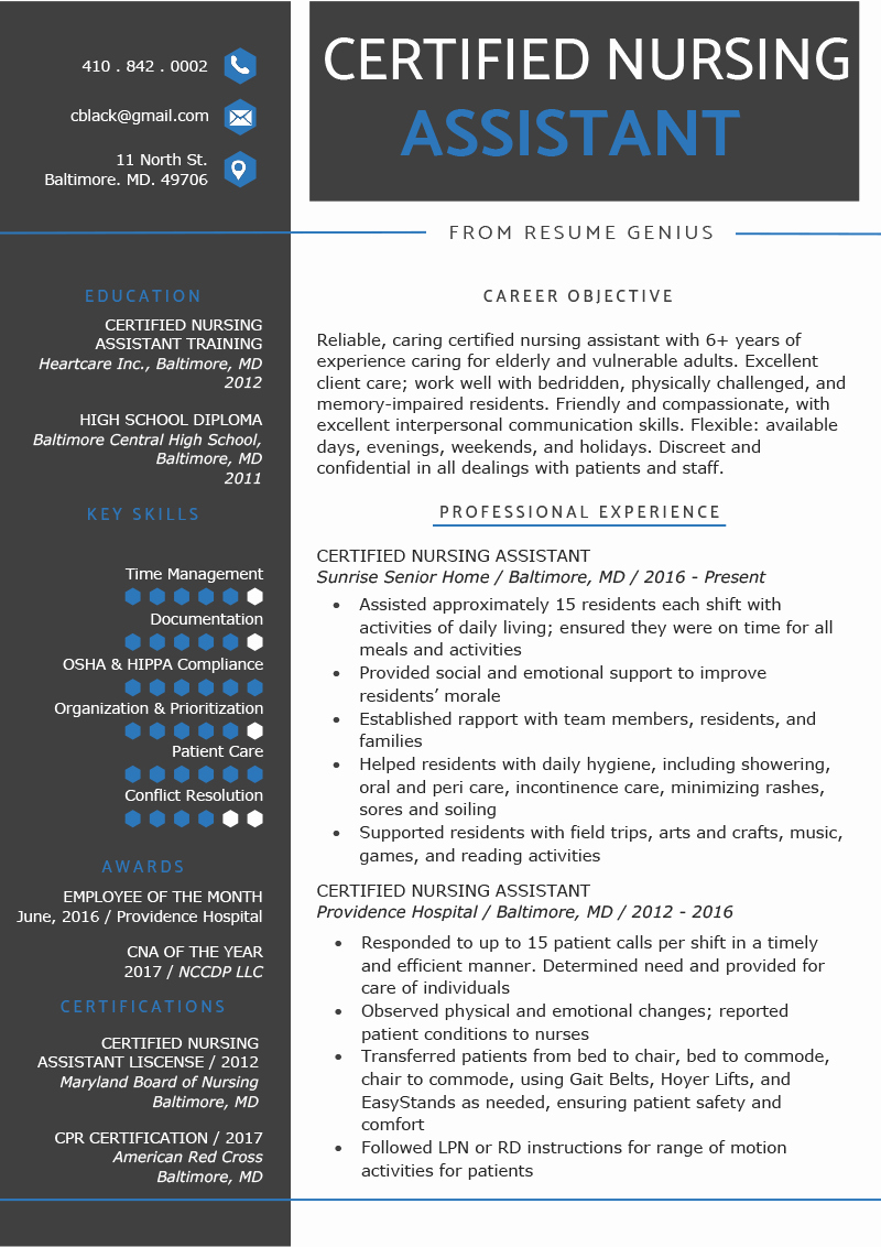 Free Cna Resume Templates Inspirational Certified Nursing assistant Cna Resume Sample & Writing