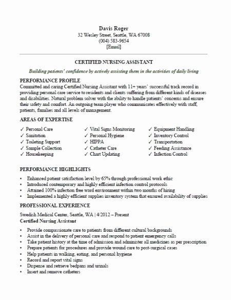 Free Cna Resume Templates Lovely Cna Resume