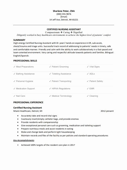 Free Cna Resume Templates Unique Cna Resume