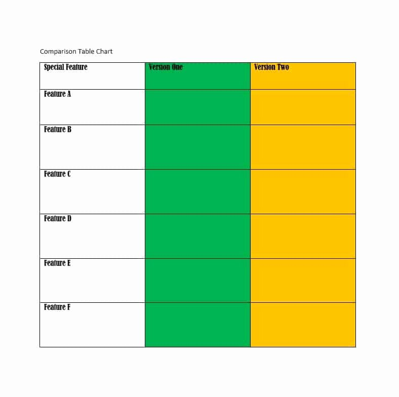 Free Comparison Chart Template Lovely 40 Great Parison Chart Templates for Any Situation