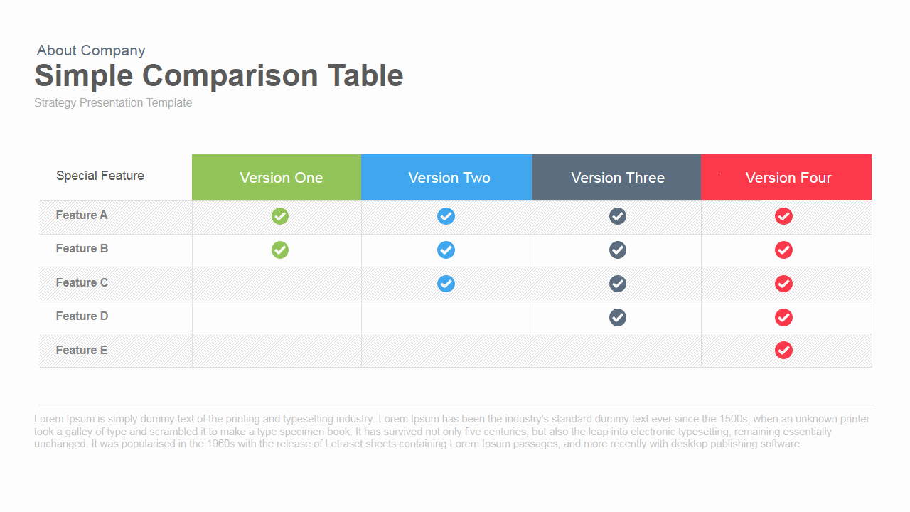 Free Comparison Chart Template New Simple Parison Table Powerpoint Template & Keynote