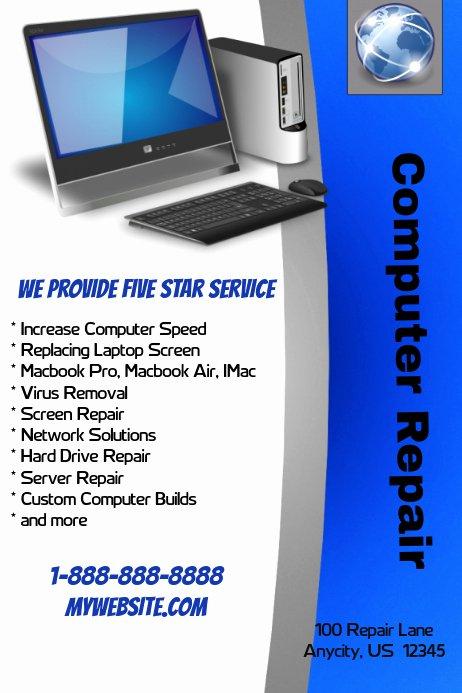 Free Computer Repair Flyer Template Beautiful Puter Repair Shop Template