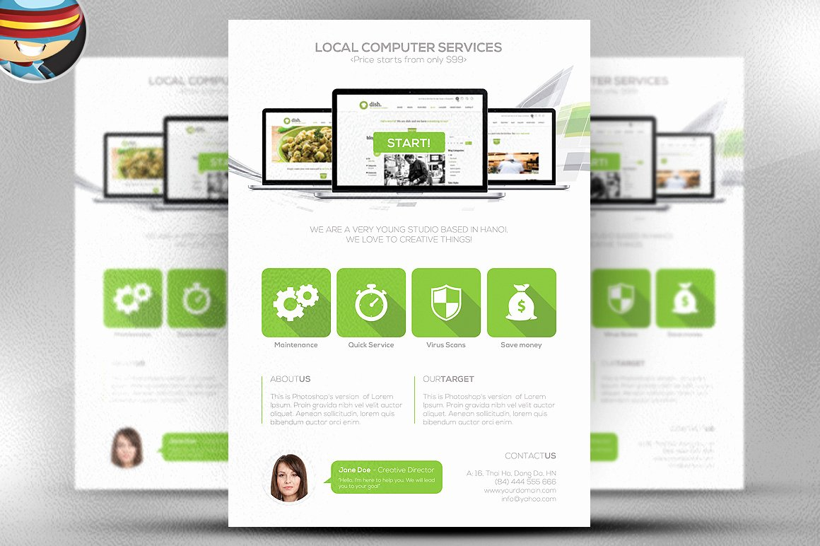Free Computer Repair Flyer Template Elegant Flat Style Puter Services Flyer Flyer Templates On