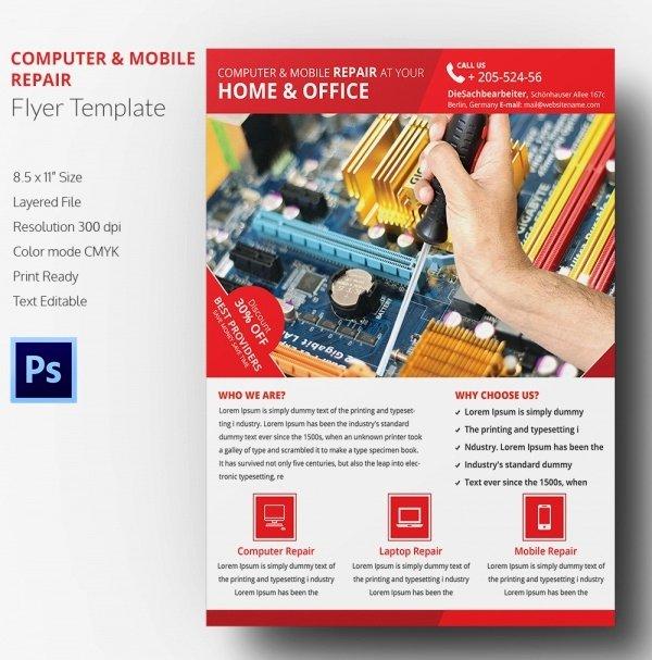 Free Computer Repair Flyer Template Elegant Puter Repair Flyer Template – 21 Free Psd Ai format