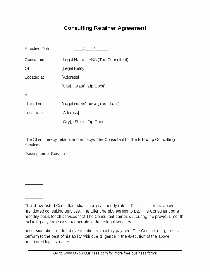 Free Consulting Agreement Template Awesome Free Retainer Agreement Template for Self Employed