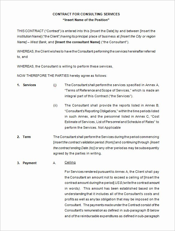 Free Consulting Agreement Template Beautiful Consulting Contract Template Free Download Templates