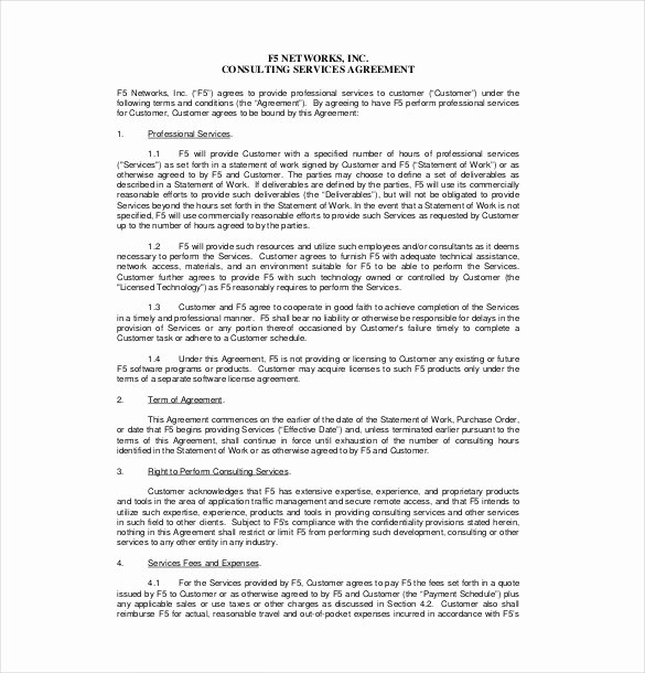 Free Consulting Agreement Template Lovely 24 Consultant Agreement Templates Word Docs