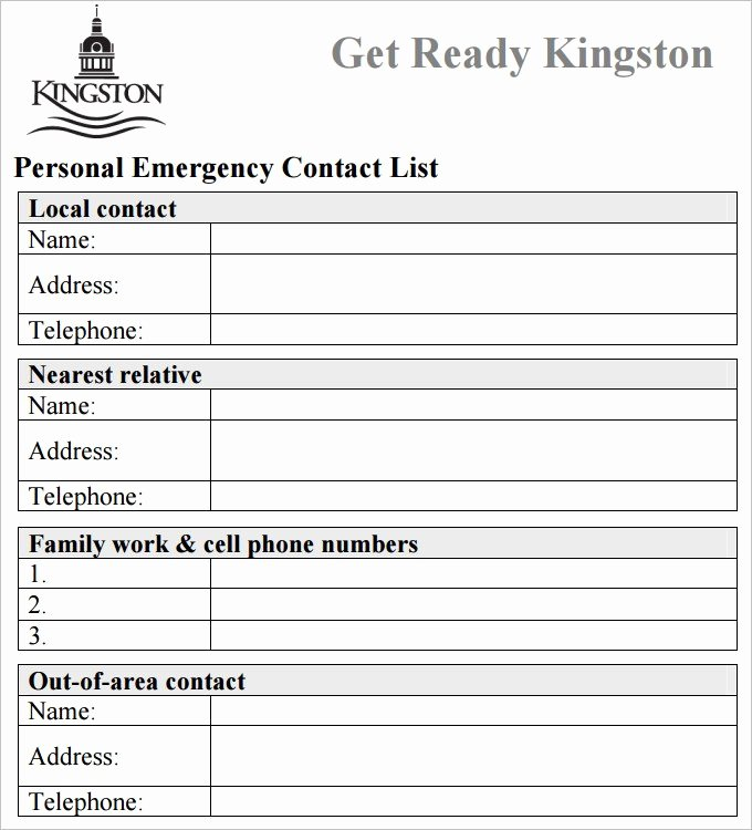 Free Contact List Template Best Of Emergency Phone Number List Template Picture – Emergency