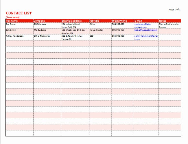 Free Contact List Template Elegant Free Contact List Template for Business