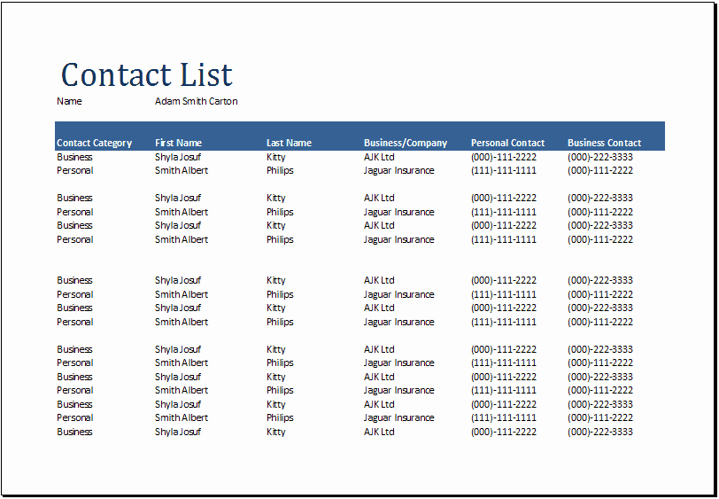 Free Contact List Template Lovely 24 Free Contact List Templates In Word Excel Pdf