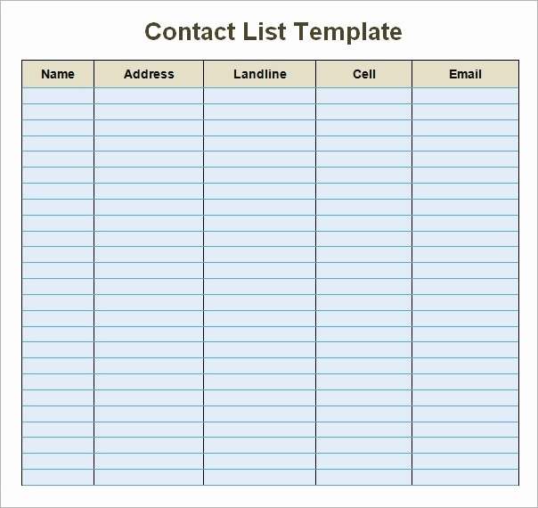Free Contact List Template Luxury Contact List Template 14 Download Free Documents In Pdf