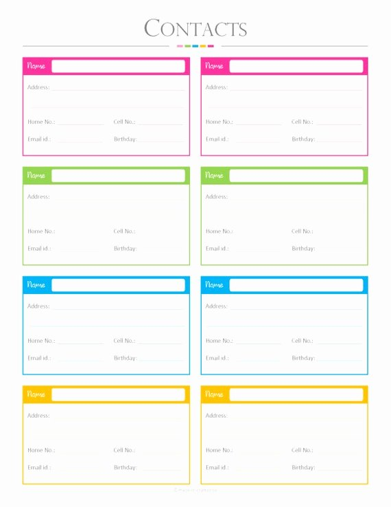 Free Contact List Template New Contacts List Pdf Planner Contact List Checklist List to