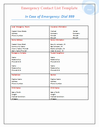 Free Contact List Template New Emergency Contact List Template