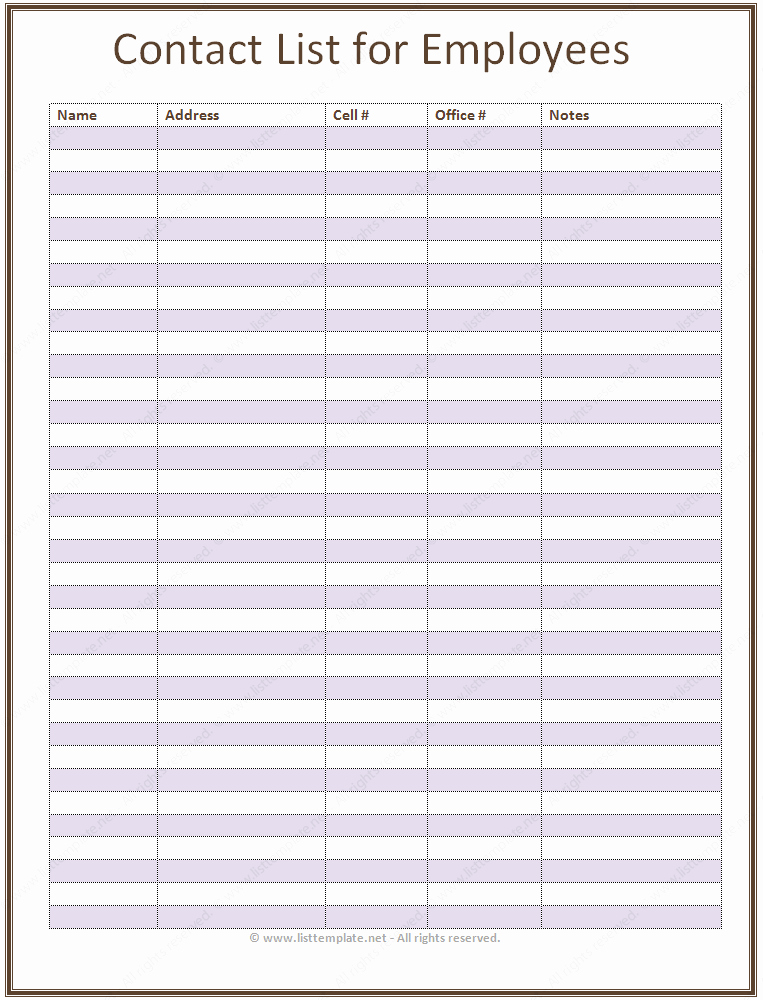 Free Contact List Template New Employee Contact List Template In A Basic format