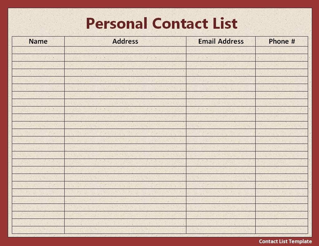 Free Contact List Template Unique List Templates
