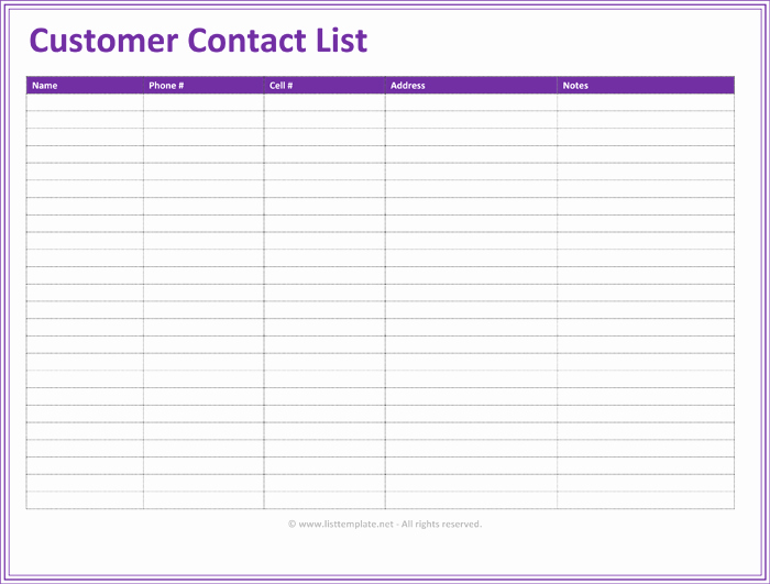 Free Contact List Template Unique Template Customer Contact List Template Excel Customer