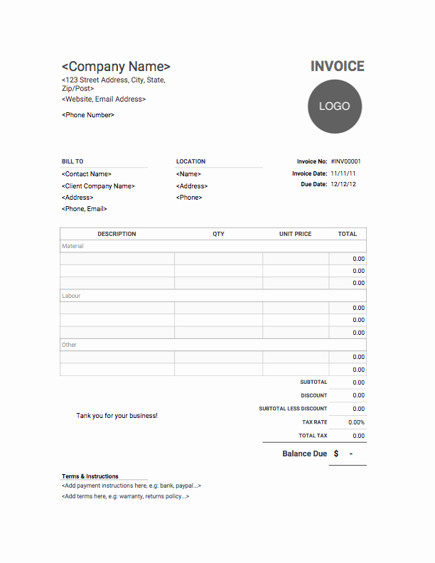 Free Contractor Invoice Template Fresh Contractor Invoice Template