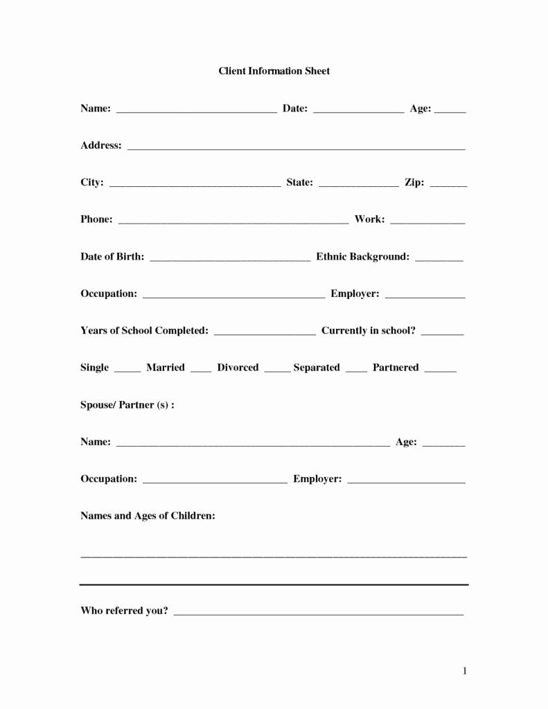 Free Data Sheet Template Elegant 8 Client Information Sheet Templates Word Excel Pdf formats