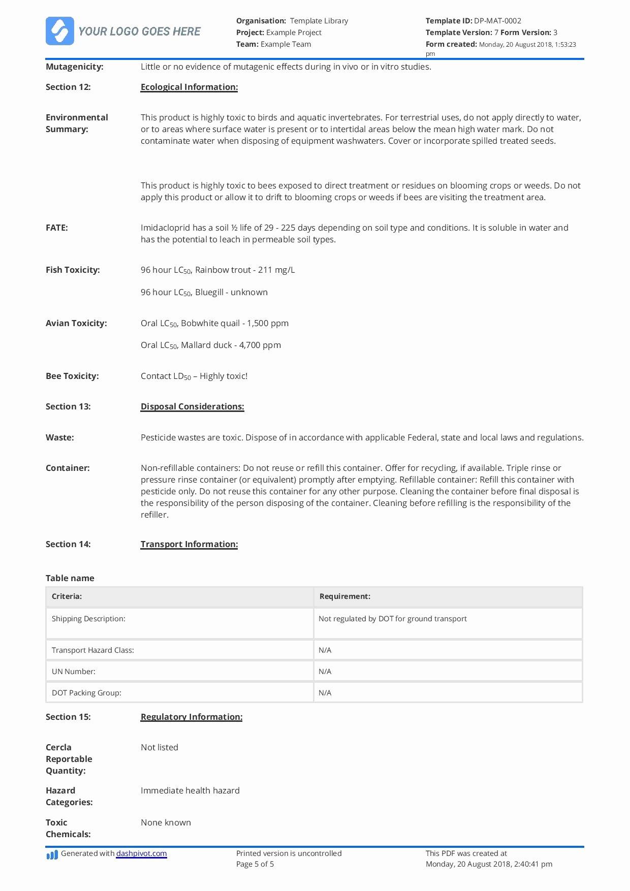 Free Data Sheet Template Elegant Free Material Safety Data Sheet Template Better Than Word