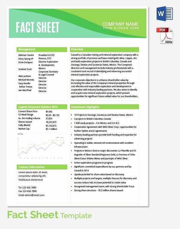 Free Data Sheet Template Fresh Fact Sheet Template Fact Sheet Template 15 Free Word