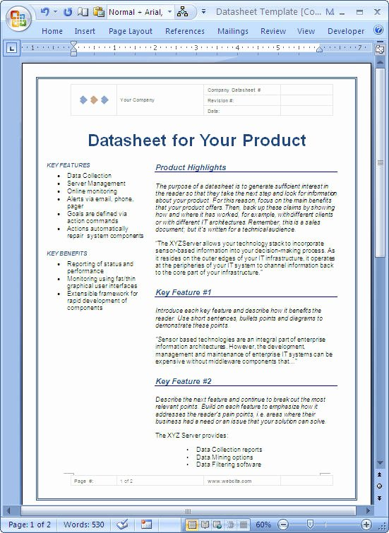 Free Data Sheet Template Lovely Datasheet – Sample Microsoft Word Data Sheet Templates
