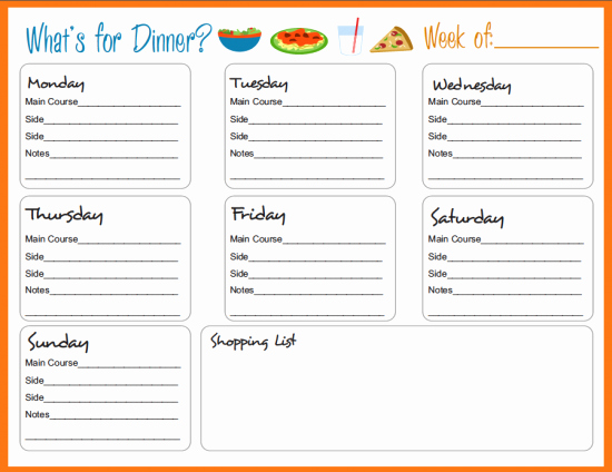 Free Dinner Menu Templates Awesome Meal Planning Templates On Pinterest