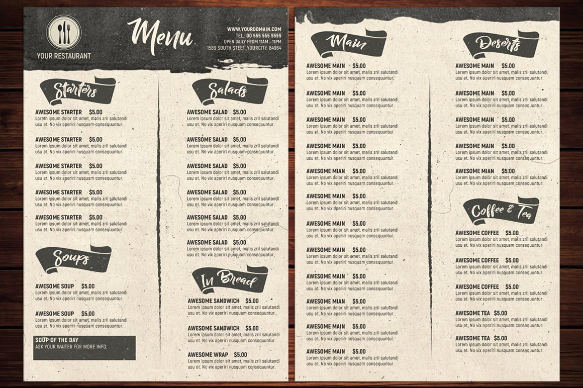 Free Dinner Menu Templates Awesome Rustic Restaurant Menu Template Flyer Templates