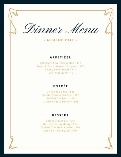 Free Dinner Menu Templates Best Of Cream and Blue Fancy Border Dinner Menu Templates by Canva