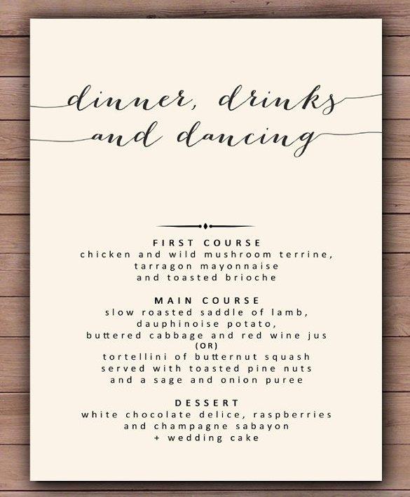 Free Dinner Menu Templates Elegant 30 Dinner Menu Templates Psd Word Ai Illustrator