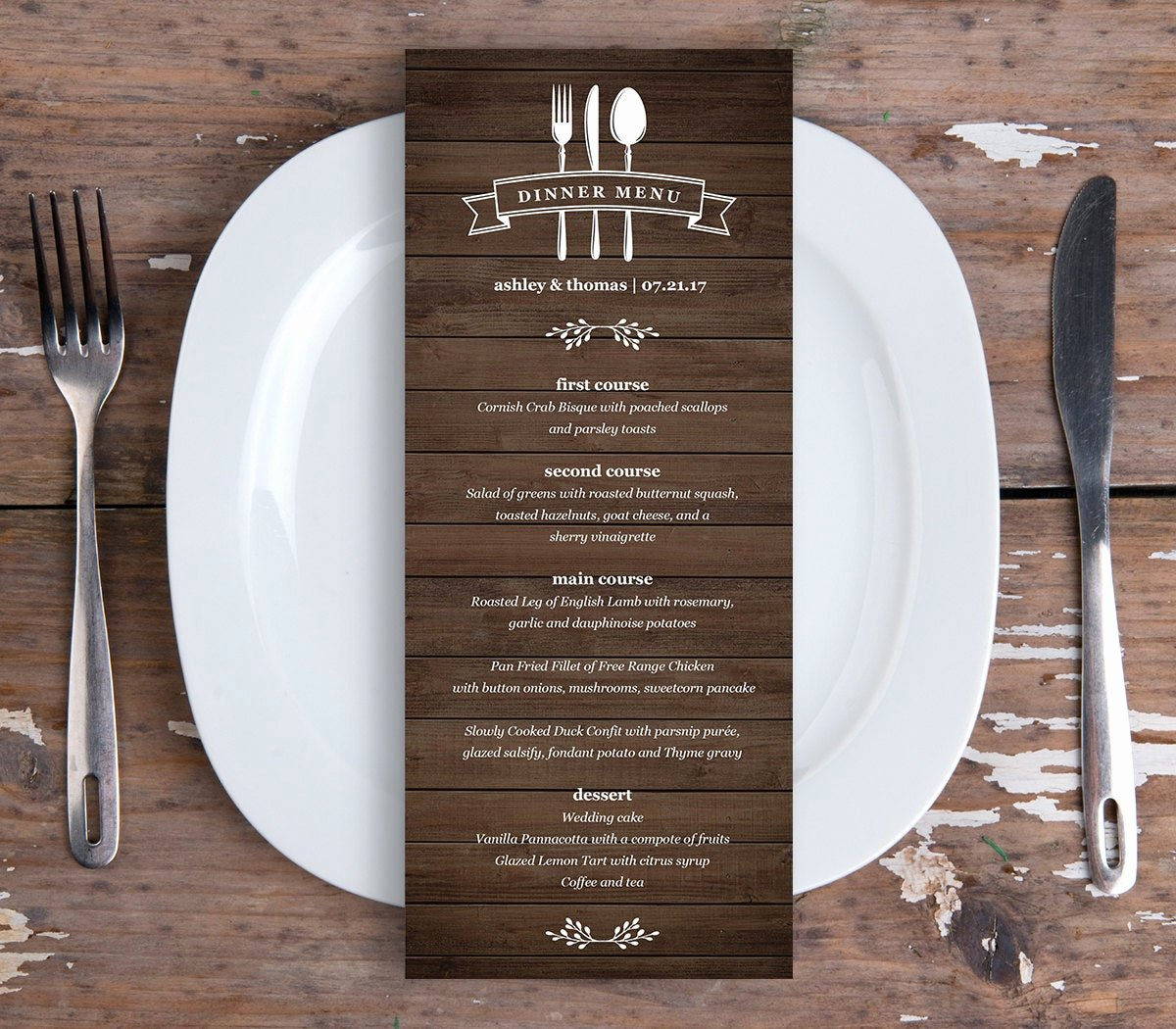 Free Dinner Menu Templates Fresh Dinner Menu Card Template Printable Wedding Menu Instant