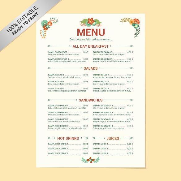 Free Dinner Menu Templates Inspirational 23 Free Menu Templates Pdf Doc Excel Psd