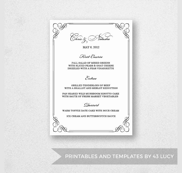 Free Dinner Menu Templates Lovely Free 25 Dinner Party Menus In Illustrator
