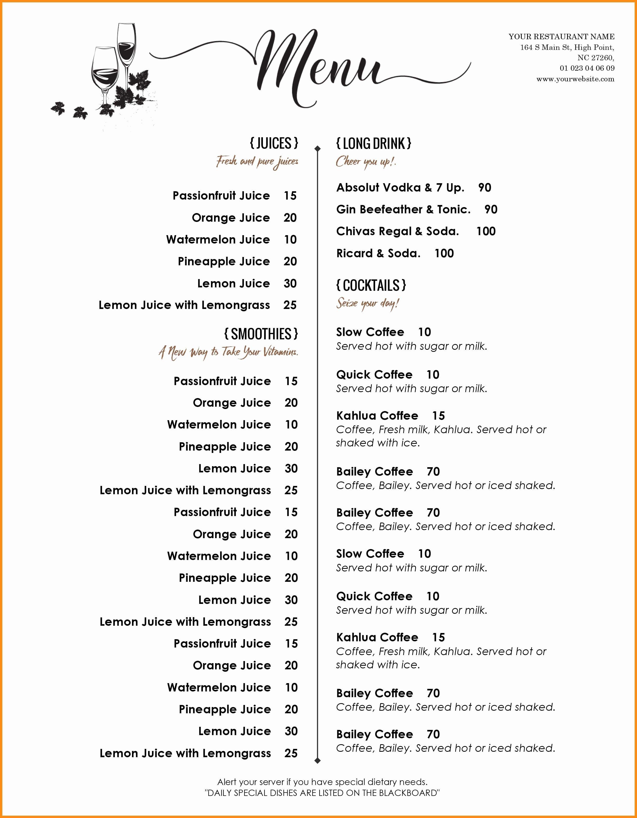 Free Dinner Menu Templates New Dinner Menu Templates Free Download