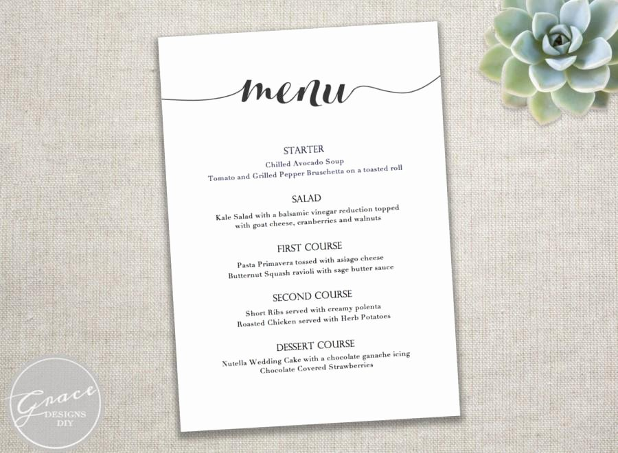 Free Dinner Menu Templates New Printable Black Menu Template Calligraphy Style Script