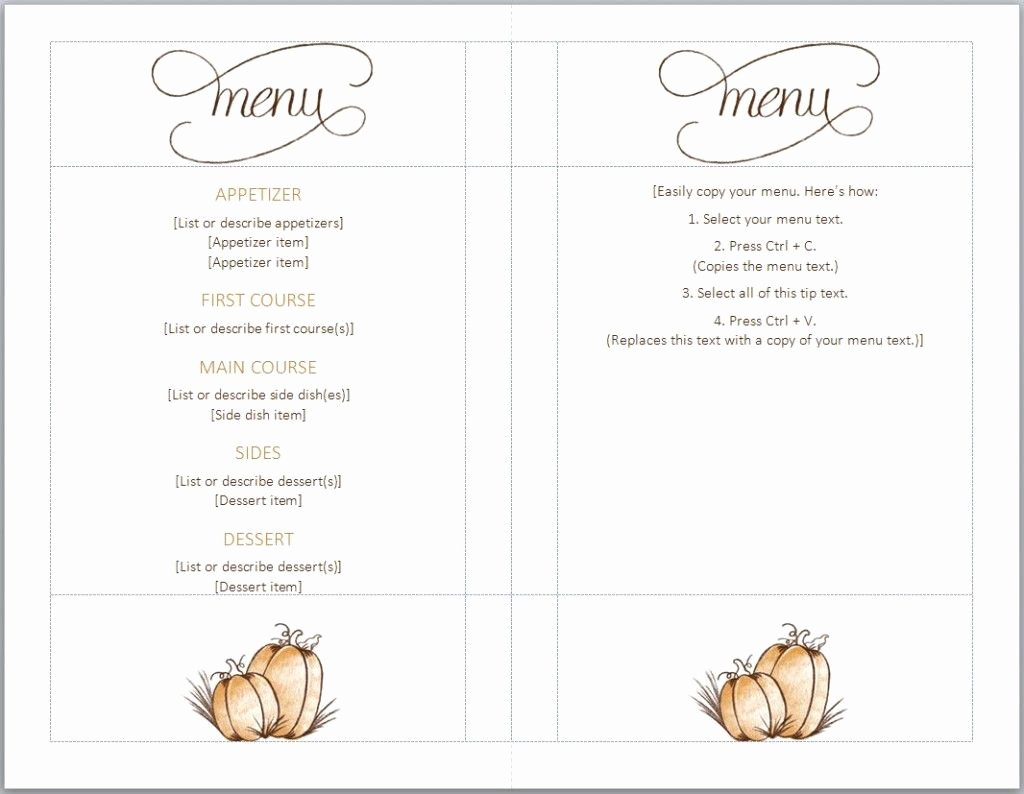 Free Dinner Menu Templates Unique Free Thanksgiving Menu Template