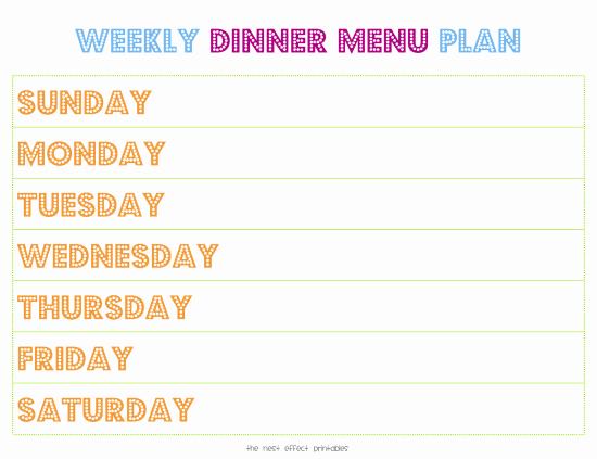 Free Dinner Menu Templates Unique Weekly Menu Template