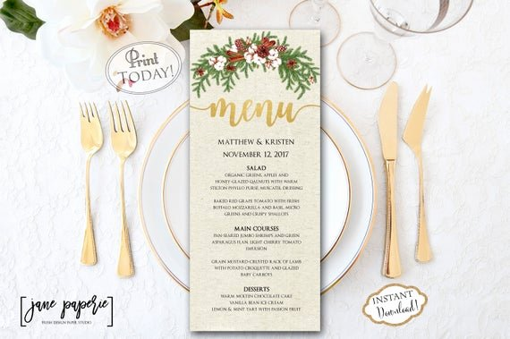 Free Dinner Party Menu Templates Beautiful Instant Download Wedding Menu Template Christmas Dinner