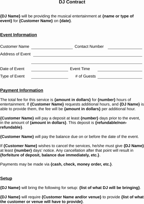 Free Dj Contract Template Awesome Download Dj Contract Template for Free formtemplate