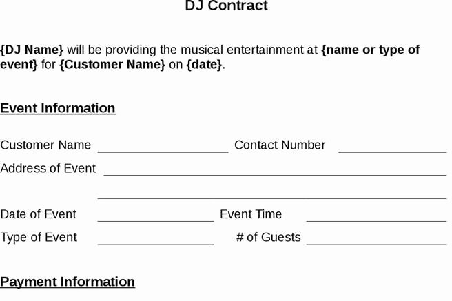 Free Dj Contract Template Beautiful 8 Dj Contract Template Free Download