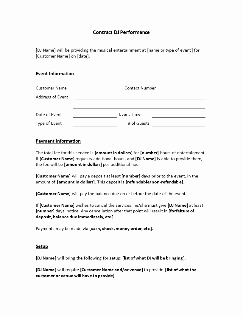 Free Dj Contract Template Beautiful Dj Services Contract are You Hiring A Diskjockey for An