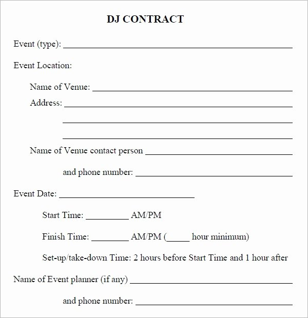 Free Dj Contract Template Beautiful Free 20 Sample Best Dj Contract Templates In Google Docs