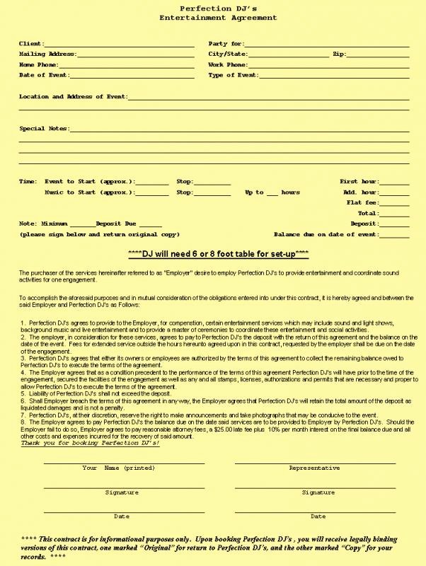 Free Dj Contract Template Best Of Free Construction Contract Template