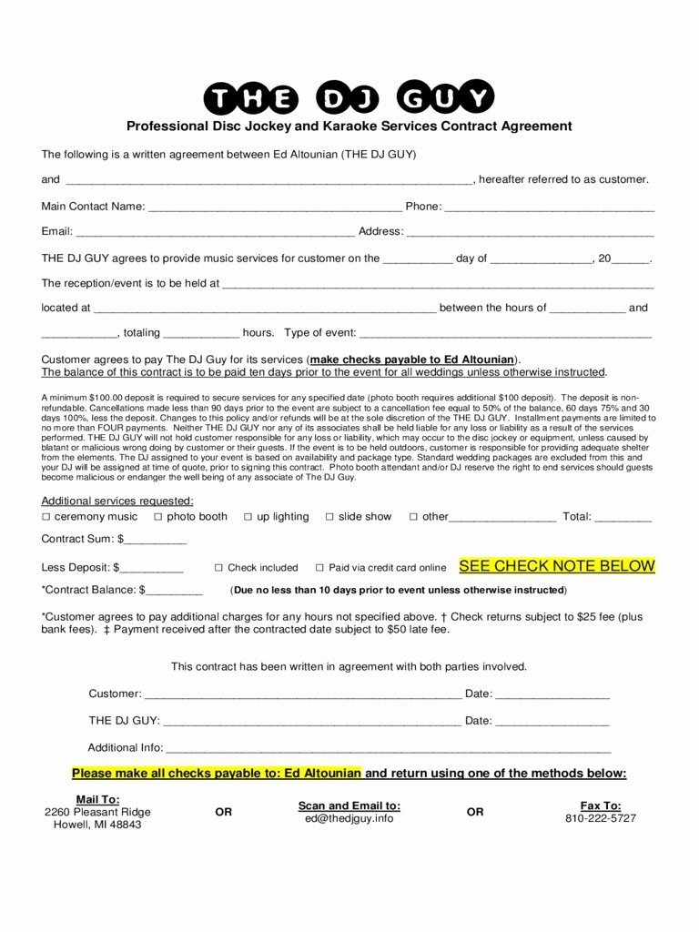 Free Dj Contract Template Best Of Professional Services Agreement Template Excellent Dj